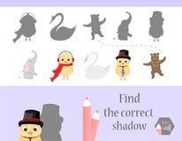 Find the correct shadow, education game for children. Cute Cartoon animals and Nature. vector illustration. elephant. Bear, chicken, swan Stock Photo