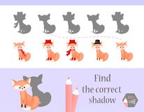 Find the correct shadow, education game for children. Cute Cartoon animals and Nature. vector illustration. fox.  Royalty Free Stock Image