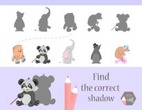 Find the correct shadow, education game for children. Cute Cartoon animals and Nature. vector illustration. gift. Elephant, bear, mole Stock Photography