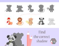 Find the correct shadow, education game for children. Cute Cartoon animals and Nature. vector illustration. gift,lion. Elephantfox, bear Stock Photos