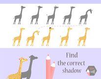 Find the correct shadow, education game for children. Cute Cartoon animals and Nature. vector illustration. giraff.  Stock Image