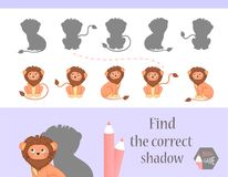 Find the correct shadow, education game for children. Cute Cartoon animals and Nature. vector illustration, lion.  Royalty Free Stock Image