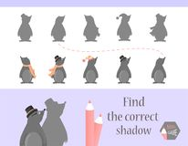 Find the correct shadow, education game for children. Cute Cartoon animals and Nature. vector illustration. mole.  Royalty Free Stock Photo