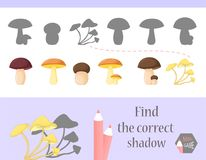 Find the correct shadow, education game for children. Cute Cartoon animals and Nature. vector illustration. mushroom.  Stock Photo