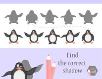 Find the correct shadow, education game for children. Cute Cartoon animals and Nature. vector illustration. penguin.  Stock Photo