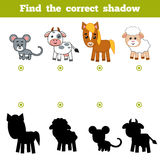 Find the correct shadow, education game for children. Farm animals. Find the correct shadow, education game for children. Set of cartoon farm animals Stock Photos