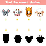 Find the correct shadow, education game for children. Farm animals. Find the correct shadow, education game for children. Set of cartoon farm animals Royalty Free Stock Photo