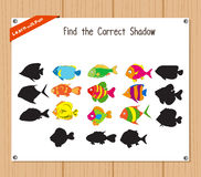 Find the correct shadow, education game for children - Fish Royalty Free Stock Photography