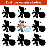 Find the correct shadow, Girl and a ball of snow. Find the correct shadow, education game for children, Girl and a ball of snow Stock Photos