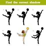 Find the correct shadow, The gymnast with a ball. Find the correct shadow, education game for children, The gymnast with a ball Royalty Free Stock Photo