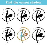 Find the correct shadow, The gymnast with a ribbon. Find the correct shadow, education game for children, The gymnast with a ribbon Royalty Free Stock Photo