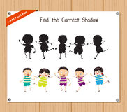 Find the correct shadow, education game for children - Kids funny.  Stock Photo