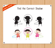 Find the correct shadow, education game for children - Kids hula Hoop.  Royalty Free Stock Photo