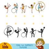 Find the correct shadow. Rhythmic gymnastics. Find the correct shadow, education game for children. Rhythmic gymnastics Stock Photo