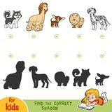 Find the correct shadow. Set of dogs. Find the correct shadow, education game for children. Set of dogs Stock Photo