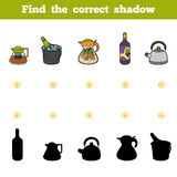 Find the correct shadow. Set of kitchen utensils and objects. Find the correct shadow, education game for children. Set of kitchen utensils and objects from the Royalty Free Stock Photography