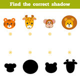 Find the correct shadow, education game for children. Set of zoo Royalty Free Stock Photo