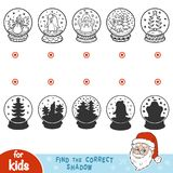 Find the correct shadow. Snowballs with Christmas items. Find the correct shadow, education game for children. Snowballs with Christmas items Royalty Free Stock Images