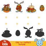 Find the correct shadow, education game, Easter items. Find the correct shadow, education game for children, Easter items Stock Photos