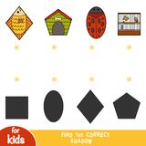 Find the correct shadow, education game, set of animals vector illustration