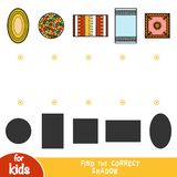 Find the correct shadow, education game, set of carpets royalty free illustration