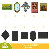 Find the correct shadow, education game, set of home objects stock illustration