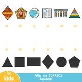 Find the correct shadow, education game, Set of objects stock illustration