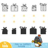 Find the correct shadow. Black and white Christmas gifts. Find the correct shadow, education games for children. Black and white Christmas gifts Stock Image