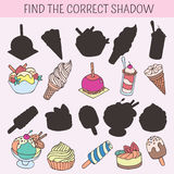 Find the correct shadow. Educational game for children. Vector hand drawn doodle illustration. Cartoon cakes, cupcakes. Find the correct shadow. Educational game Royalty Free Stock Images