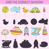 Find the correct shadow. Educational game for children. Vector hand drawn doodle illustration. Cartoon kids toys. Find the correct shadow. Educational game for Stock Image