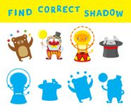 Find the correct shadow educational game for kids. Vector activity template with circus characters.  Royalty Free Stock Photos