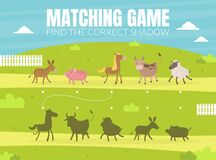 Find the Correct Shadow, Educational Matching Game for Kids with Cute Farm Animals Vector illustration