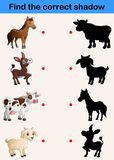 Find correct shadow farm animals collection. Illustration of Find correct shadow farm animals collection royalty free illustration