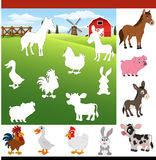 Find the correct shadow farm animals Royalty Free Stock Image