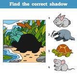 Find the correct shadow. Find animal by shadow. Find the correct shadow, education game for children. Find animal by shadow Royalty Free Stock Photography