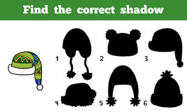 Find the correct shadow, Find cap by the shadows Royalty Free Stock Photos
