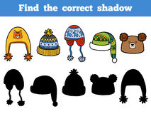 Find the correct shadow, Find caps by the shadows. Find the correct shadow, education game for children. Find caps by the shadows. Set of knitted hats Stock Photography