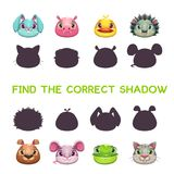 Find the correct shadow. Game template for children Royalty Free Stock Photography