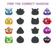 Find the correct shadow. Game template for children Stock Image