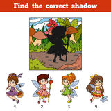 Find the correct shadow. Find fairy girl by shadow. Find the correct shadow, education game for children. Find fairy girl by shadow Stock Photos
