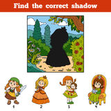 Find the correct shadow. Find girl by shadow. Find the correct shadow, education game for children. Find girl by shadow Royalty Free Stock Photo