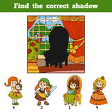Find the correct shadow. Find girl by shadow. Find the correct shadow, education game for children. Find girl by shadow Stock Photo