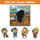 Find the correct shadow. Find pirate by shadow. Find the correct shadow, education game for children. Find pirate by shadow Stock Photography