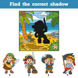 Find the correct shadow. Find pirate by shadow Stock Photo