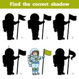 Find the correct shadow, game for children, Astronaut Stock Images