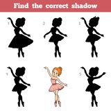 Find the correct shadow, game for children, Ballerina. Find the correct shadow, education game for children, Ballerina Stock Images