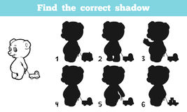 Find the correct shadow. Game for children: Find the correct shadow (bear Stock Photos