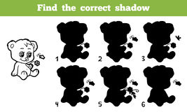 Find the correct shadow. Game for children: Find the correct shadow (bear Stock Photo
