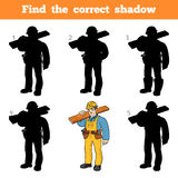 Find the correct shadow, game for children, Builder Royalty Free Stock Photos