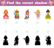 Find the correct shadow, game for children. Cartoon fairy-tale characters. Find the correct shadow, education game for children. Set of cartoon fairy-tale Stock Photos